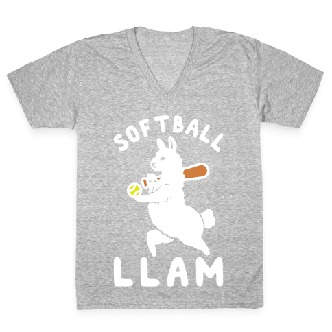 Softball Llam V-Neck Tee Shirt