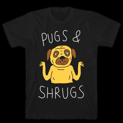 Pugs And Shrugs Dog Mens T-Shirt