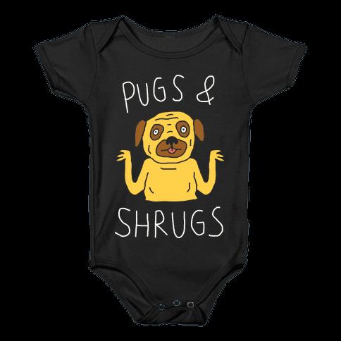 Pugs And Shrugs Dog Baby Onesy