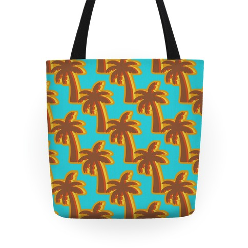 Retro Palm Pattern Tote