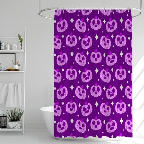 Kawaii Pumpkins Pattern Purple Shower Curtain