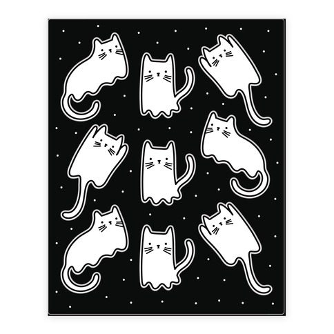 Ghost Cat Pattern Sticker and Decal Sheet