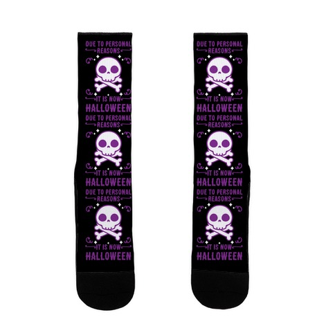 Due To Personal Reasons It Is Now Halloween Skull (Purple) Sock