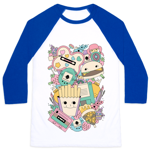 90s Toys Candy and Makeup Baseball Tee