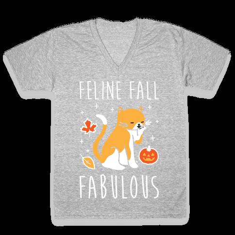Feline Fall Fabulous V-Neck Tee Shirt