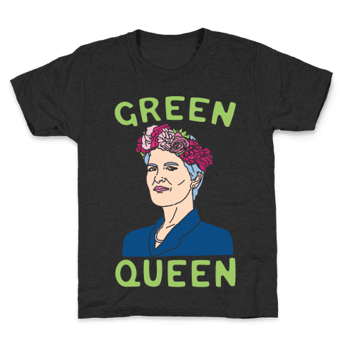 Green Queen White Print Kids T-Shirt