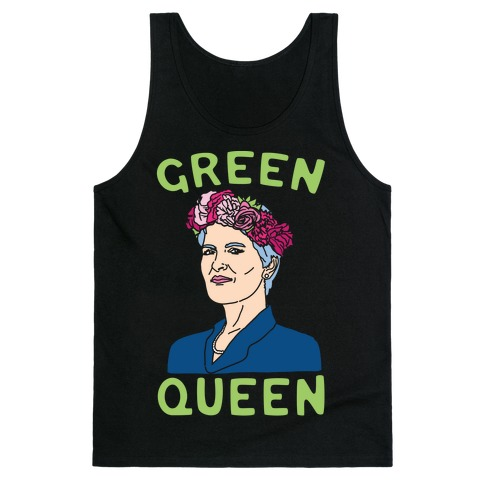 Green Queen White Print Tank Top
