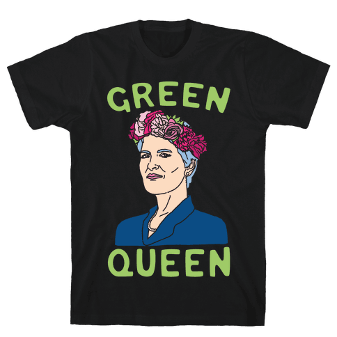 Green Queen White Print Mens T-Shirt