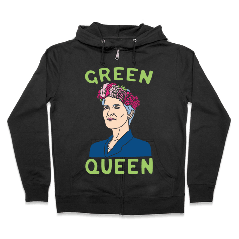 Green Queen White Print Zip Hoodie
