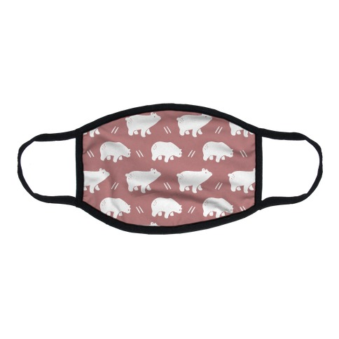 Bear Dusty Rose Boho Pattern Flat Face Mask