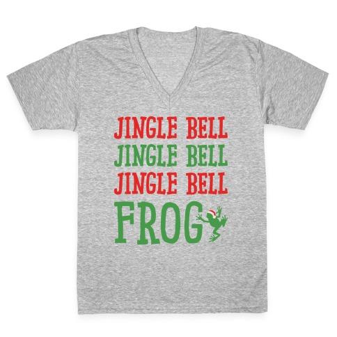 Jingle Bell Frog V-Neck Tee Shirt