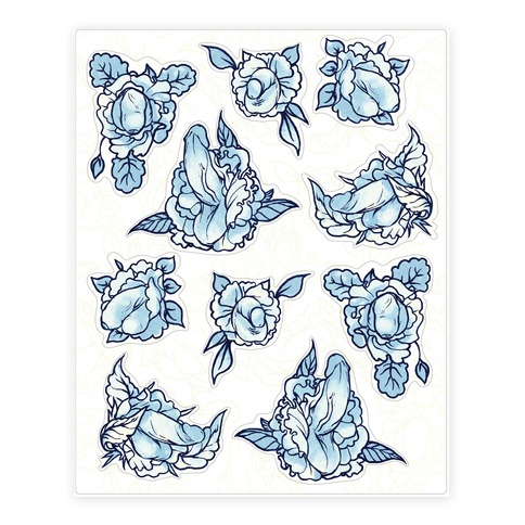Floral Penis Pattern Blue Sticker and Decal Sheet