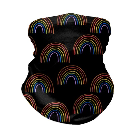 Hand Drawn Rainbow (Black) Neck Gaiter