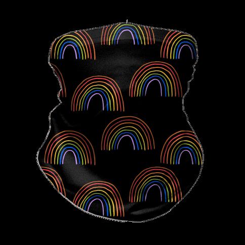 Hand Drawn Rainbow (Black) Neck Gaiter