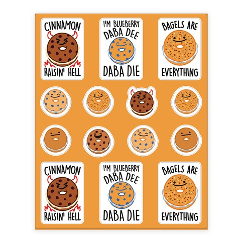 Bagel Pun Sticker Sheet Sticker and Decal Sheet
