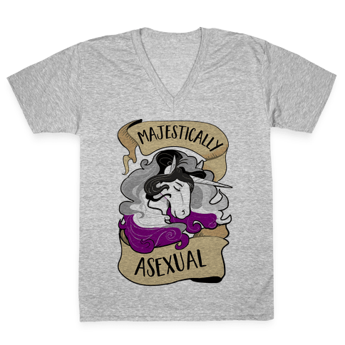 Majestically Asexual V-Neck Tee Shirt