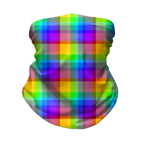 Rainbow Plaid Neck Gaiter