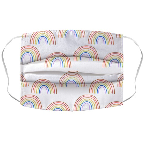 Hand Drawn Rainbow (White) Accordion Face Mask