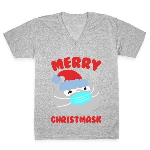 Merry Christmask White Print V-Neck Tee Shirt