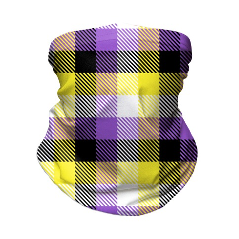 Nonbinary Pride Flag Plaid Neck Gaiter
