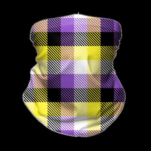 Nonbinary Pride Flag Plaid Neck Gaiter