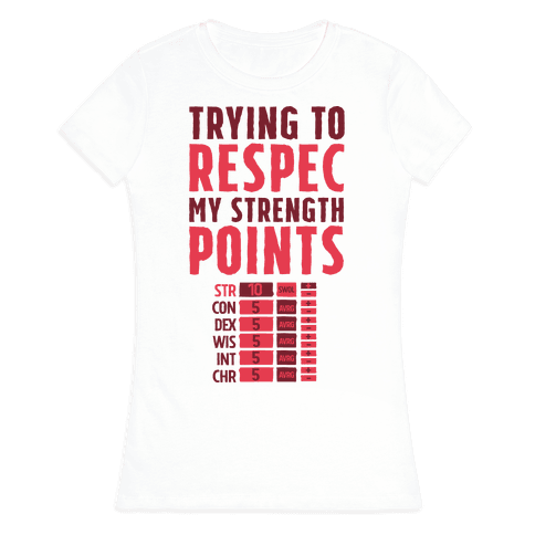 Trying to Respec My Strength Points  Womens T-Shirt