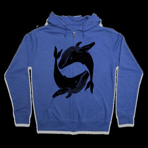 The Circle of Whales Zip Hoodie