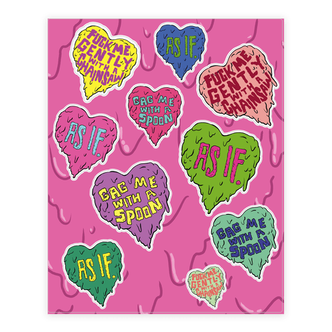 Gross 90's Hearts Sticker/Decal Sheet