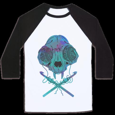 Cat Skull & Crochet Hooks Baseball Tee