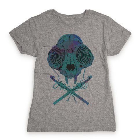 Cat Skull & Crochet Hooks Womens T-Shirt