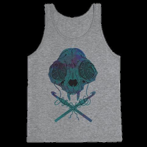 Cat Skull & Crochet Hooks Tank Top