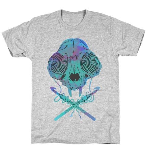 Cat Skull & Crochet Hooks T-Shirt