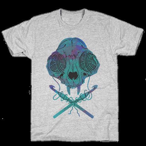 Cat Skull & Crochet Hooks Mens T-Shirt