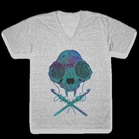 Cat Skull & Crochet Hooks V-Neck Tee Shirt
