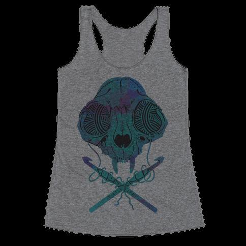 Cat Skull & Crochet Hooks Racerback Tank Top