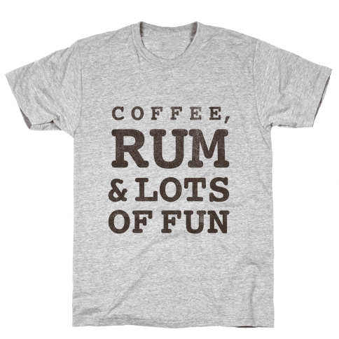 Coffee, Rum & lots of Fun (things I love v-neck) Mens T-Shirt