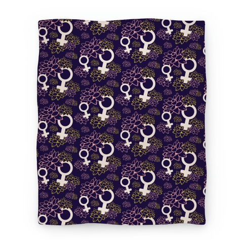 Feminist Symbol and Lotus Flowers Pattern Blanket