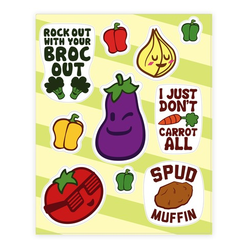 Cute Veggies Sticker and Decal Sheet