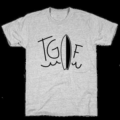 TGIF (Surfboard) (Neon) Mens T-Shirt