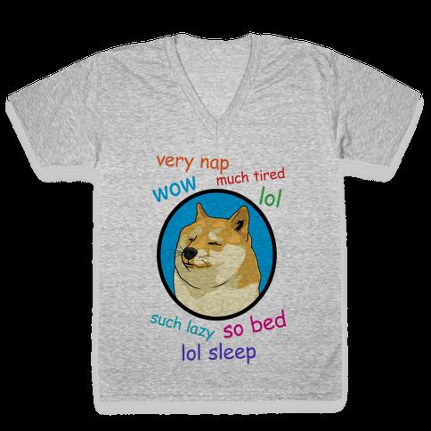 Nap Doge V-Neck Tee Shirt
