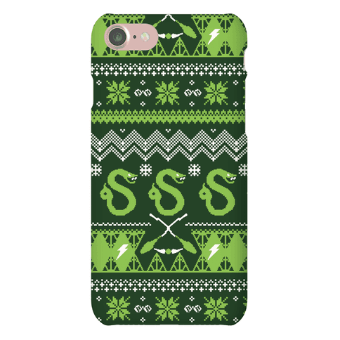 Hogwarts Ugly Christmas Sweater Pattern: Slytherin Phone Case