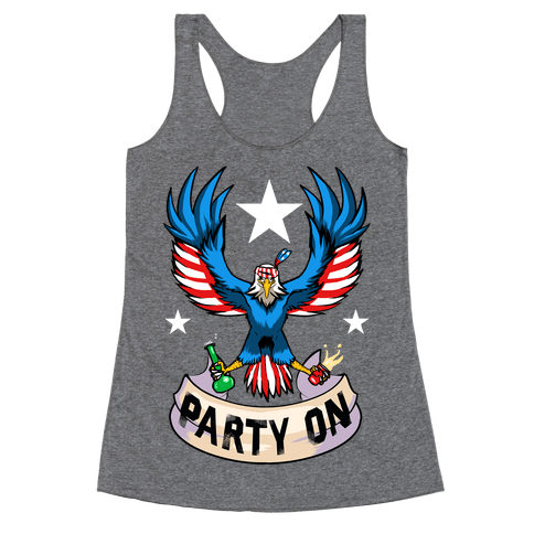 Party On USA! Racerback Tank Top