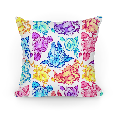 Floral Penis Pattern Rainbow Pillow