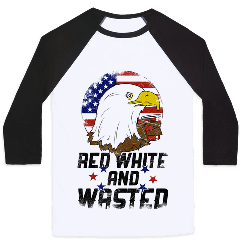 Red, White And Wasted Baseball Tee