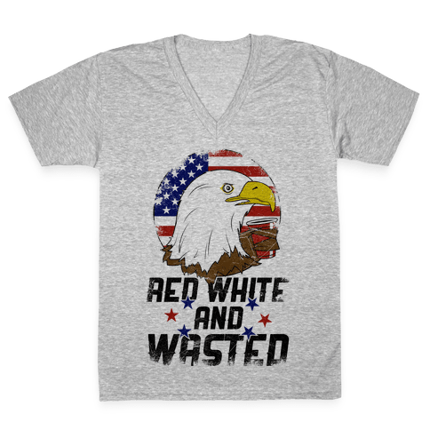Red, White And Wasted V-Neck Tee Shirt