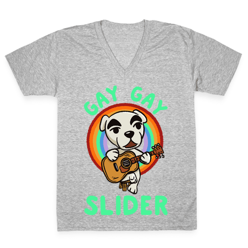 Gay gay slider lgbtq KK Slider V-Neck Tee Shirt