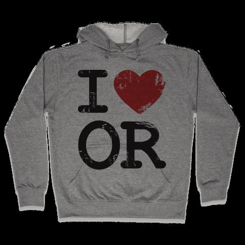 I Love Oregon Hooded Sweatshirt