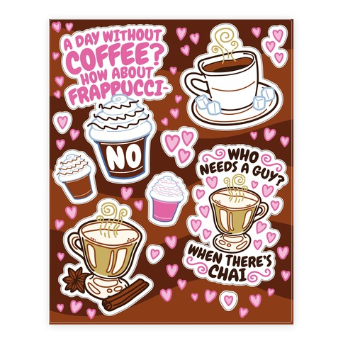 Coffee Lovers  Sticker/Decal Sheet