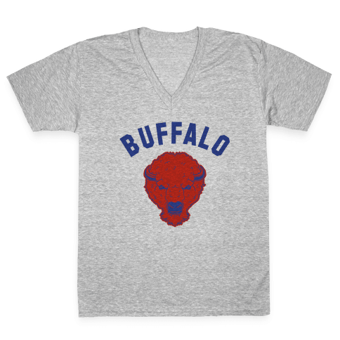 Bison Buffalo V-Neck Tee Shirt