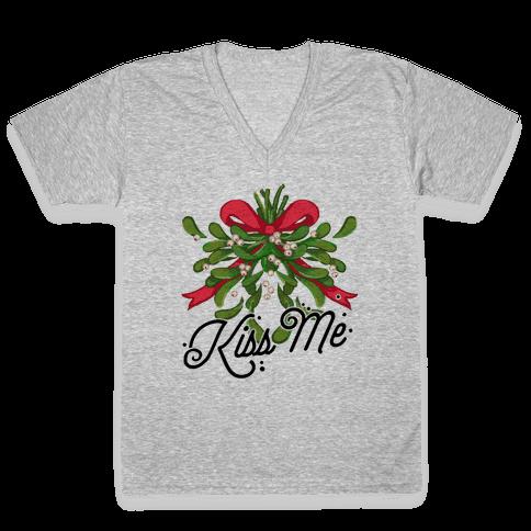 Mistletoe Kiss Me V-Neck Tee Shirt